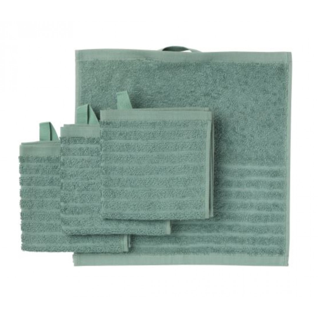 VÅGSJÖN Washcloth, light grey-green / 4 pieces  30x30 cm