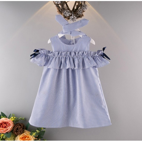 Shoulder Drop Blue Stripe Dress with Hairband For Baby Girls