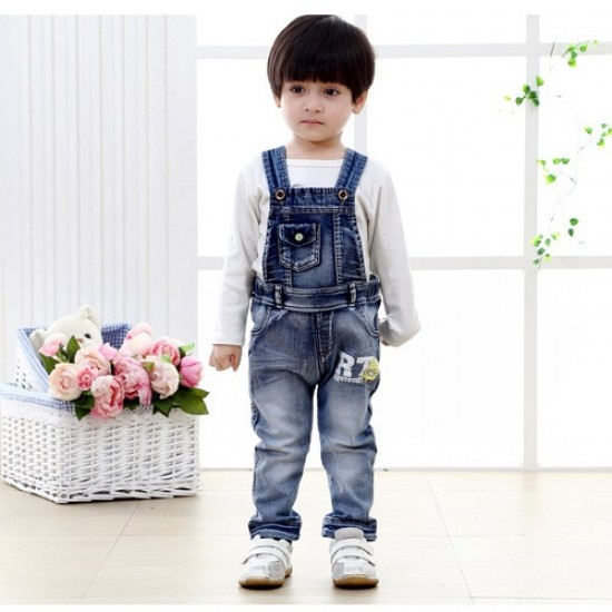 Boys and Girls Blue Denim Overalls Jeans / Jumpsuit / Rompers