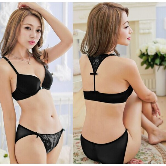 Korean Style Embroidery Lace Push Up Bra Set (Limited quantity and size)