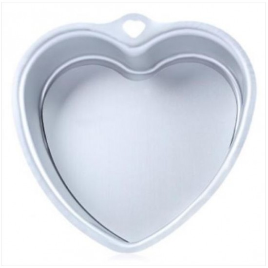 ALUMINUM ALLOY LOVE HEART SHAPED FONDANT CAKE MOLD PAN BAKEWARE (SILVER WHITE)