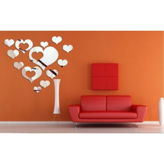 19 Pcs Acrylic Decorative Love Shape Mirror Wall Sticker