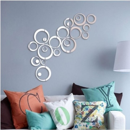 22 Pcs Acrylic Decorative Round Shape Mirror Wall Sticker