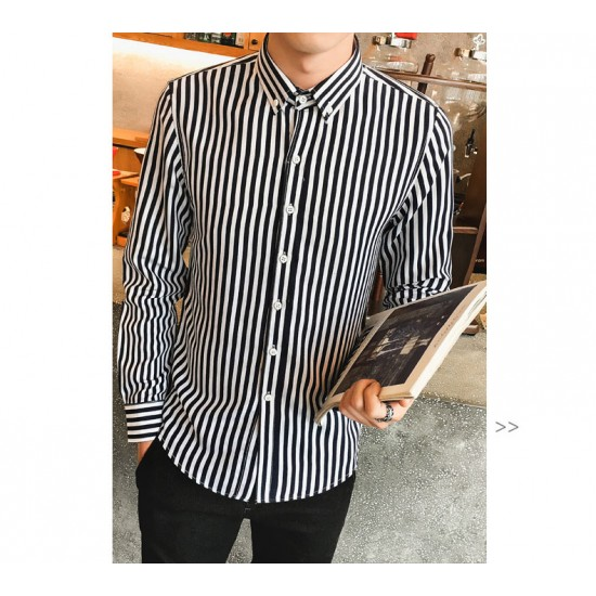 Men Straight Stripes Long Sleeve Shirts