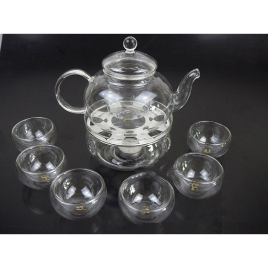 *CHOOSE OPTION* Glass Teapot Set + Warmer + 6 Double wall glass cup Tea Pot