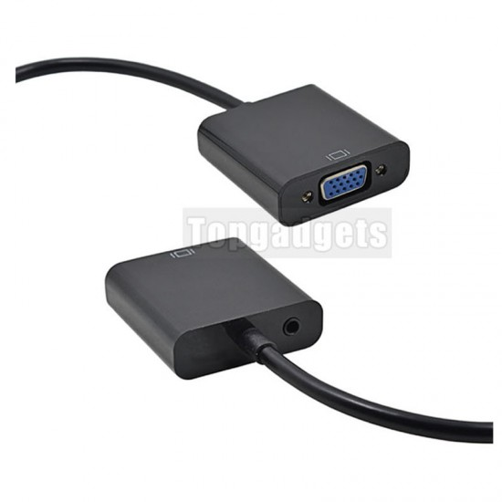 HDMI to VGA Converter Adapter Cable with Audio Port For PC Laptop Projector