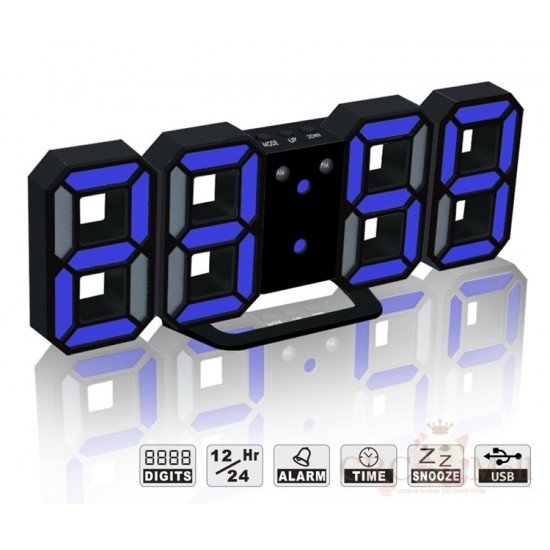 3D LED Modern Wall Desk Table Clock with Dimmable Nightlight