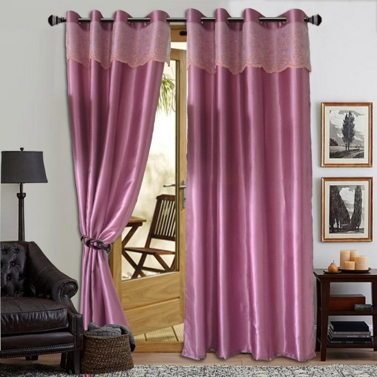 2 PIECE : Essina Eyelet Curtain 140cm(W)x260cm(L) STELLA LAVENDER(Fit sliding door from 150cm-250cm)