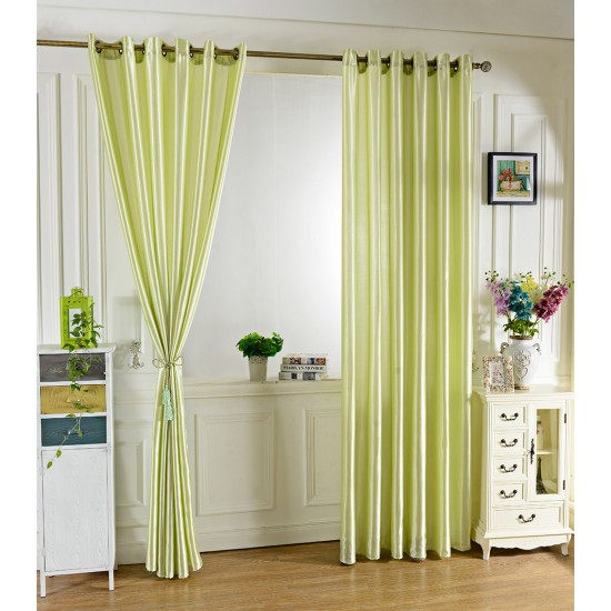 100 X 250CM PURE COLOR GROMMET RING TOP BLACKOUT WINDOW CURTAIN (GREEN)
