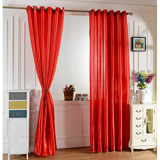 100 X 250CM PURE COLOR GROMMET RING TOP BLACKOUT WINDOW CURTAIN (RED)