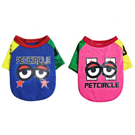 Summer Thin Pet Dog Clothes Classic Breathable Big Eyes Print T-shirt